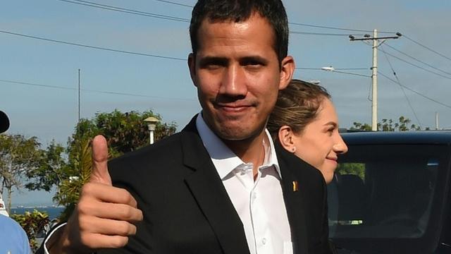 L'opposant vénézuelien Juan Guaido avant une rencontre avec le président Lenin Moreno à Salinas, le 2 mars 2019 en Equateur [Rodrigo BUENDIA / Afp/AFP]