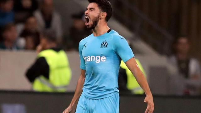Le milieu de Marseille Morgan Sanson buteur lors de la victoire à Nice 1-0 le 21 octobre 2018 en 10e journée de L1 [VALERY HACHE / AFP]