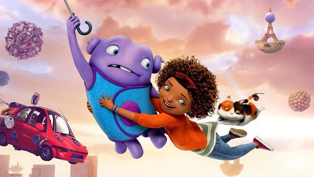 """Oh et Tif, les héros du nouveau film d'animation DreamWorks Animation """"En route !""""."""