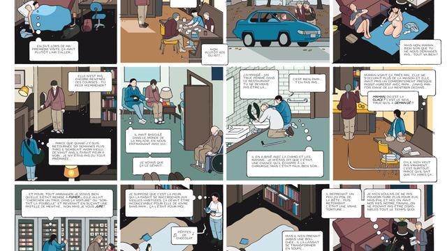 """Une planche de la bande dessinée """"Building Stories"""" de l'auteur Chris Ware."""