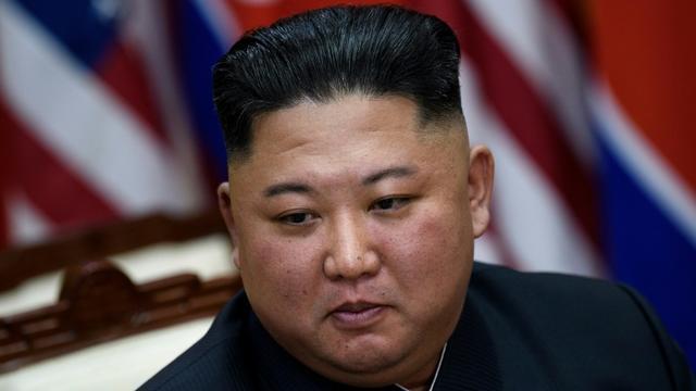 Le dirigeant nord-coréen Kim Jong Un, le 30 juin 2019 dans la zone démilitarisée de Panmunjon  [Brendan Smialowski / AFP/Archives]