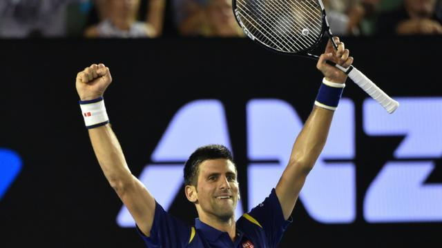 Novak Djokovic, vainqueur de Roger Federer en demi-finale de l'Open d'Australie, le 28 janvier 2016 à Melbourne [SAEED KHAN / AFP]