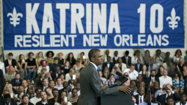 Le président Barack Obama le 27 août 2015 à La Nouvelle Orléans pour le dixième anniversaire de l'ouragan Katrina [BRENDAN SMIALOWSKI / AFP]