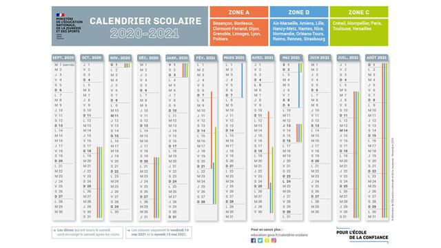 Calendrier De Lannée 2021 Rentrée Scolaire 2020 : Téléchargez le calendrier de l'année