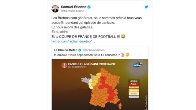 Sur twitter, le climat breton, épargné de la canicule qui s'est abattue sur la France, en a inspiré plus d'un.