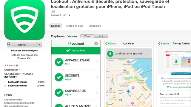 Lookout est un antivirus complet sur les appareils iOS