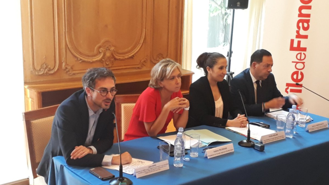 Jean Spiri, Valérie Pécresse, Farida Adlani et Jean-Luc Romero ont présenté ce mardi un plan de lutte contre le Sida.
