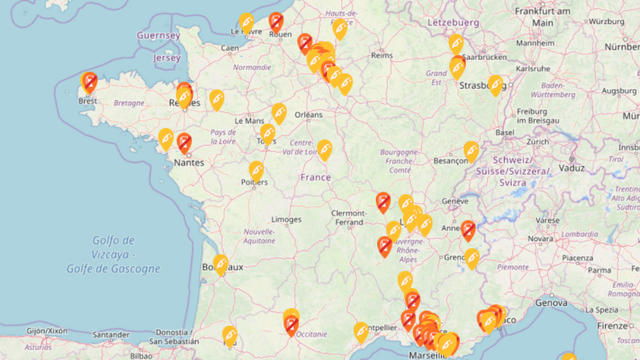Carte Blocage 17 Novembre Bourgogne.Gilets Jaunes La Carte Des Stations Essence En Rupture De