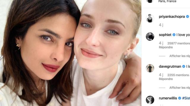 Priyanka Chopra a publié ce lundi une photo d\u0027elle avec Sophie Turner.  [Capture d\u0027écran @PriyankaChopra]