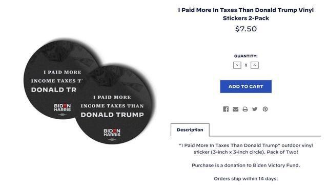 Le lot de 2 stickers coûte 7,50 dollars, en référence aux 750 dollars d'impôt payés par Donald Trump en 2016 et en 2017.