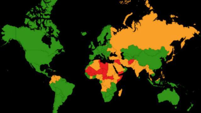 L'Afrique et l'Asie sont deux continents jugés particulièrement dangereux, en raison de leurs niveaux élevés de menace terroriste et de corruption.