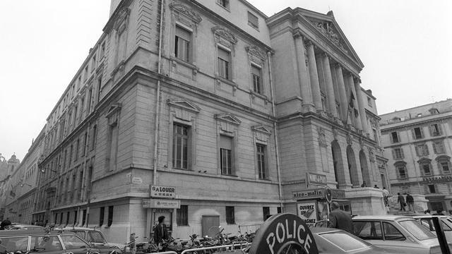 Vue du Palais de Justice de Nice, où se déroule à partir du 22 octobre 1979 le procès du «casse du siècle» de la Société Générale de Nice.