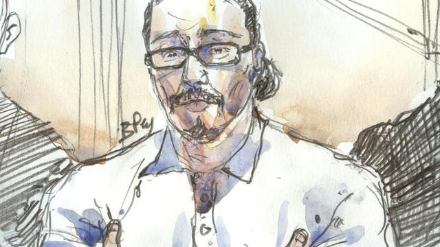 Un croquis d'audience montre Jawad Bendaoud, lors de son procès au palais de Justice de Paris, le 24 janvier 2018 [Benoit PEYRUCQ / AFP]