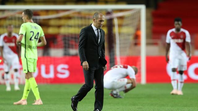 L'entraîneur de Monaco, Leonardo Jardim, après la défaite en Ligue 1 face à Angers, austade Louis II, le 25 septembre 2018 [VALERY HACHE / AFP/Archives]