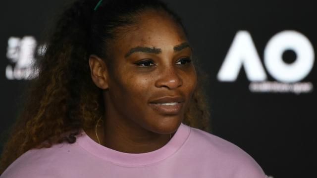 Serena Williams en conférence de presse après sa défaite face à la Tchèque Karolina Pliskova en quarts de finale de l'Open d'Australie, le 23 janvier 2019 à Melbourne    [Greg Wood / AFP]