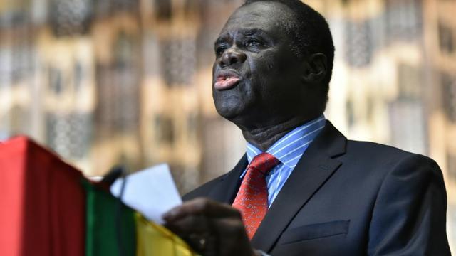 Michel Kafando, le président burkinabè de la transition, fait une déclaration à la presse, le 23 septembre 2015 à Ouagadougou [SIA KAMBOU / AFP]