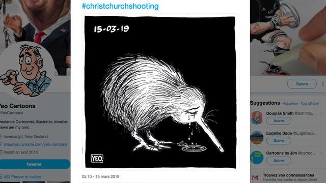 L'image du kiwi en pleurs est devenu le symbole du deuil après les attentats de Christchurch.