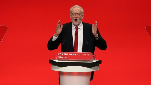 Le chef du parti travailliste Jeremy Corbyn, lors d'un meeting à Brighton, le 27 septembre 2017.