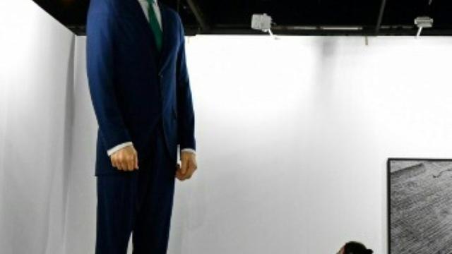 «Ninot», une statue géante du roi d'Espagne Felipe VI, par les artistes contemporains Santiago Sierra et Eugenio Merino, exposée le 26 février 2019 à la veille de l'inauguration de la foire d'art contemporain ARCO de Madrid.