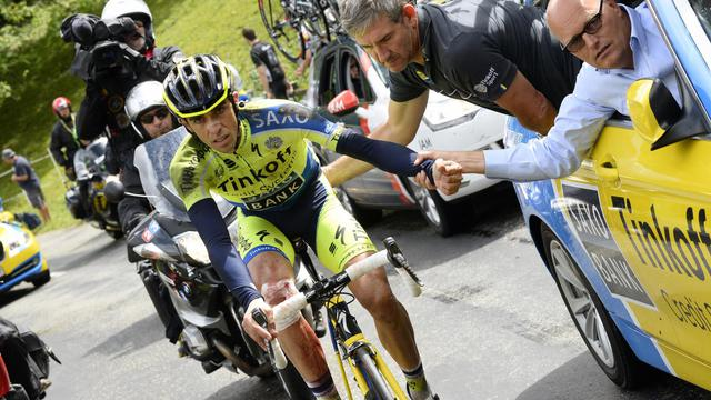 Alberto Contador lors du Tour de France le 14 juillet 2014 entre Mulhouse et La Planche des Belles Filles  [Lionel Bonaventure / AFP]