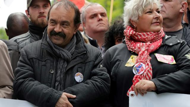 Le secrétaire général de la CGT, Philippe Martinez, lors de la mobilisation unitaire contre le projet de loi visant le statut des fonctionnaires, le 9 mai à Paris [Thomas SAMSON / AFP/Archives]