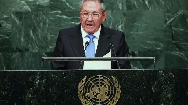 Le président cubain Raul Castro à la tribune de l'ONU à New York, le 28 septembre 2015 [JOHN MOORE / Getty/AFP/Archives]