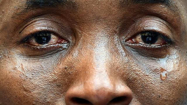 Aboubakar Soumahoro le 23 avril 2015 lors d'une manifestation pour les droits des sans-papiers [Gabriel BOUYS / AFP/Archives]