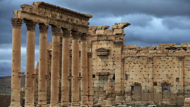 Une partie du temple de Bêl, dans la cité antique de Palmyre, le 14 mars 2014 [JOSEPH EID / AFP/Archives]