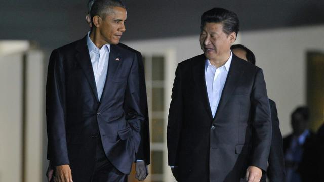 Le président Barack Obama reçoit son homologue chinois Xi Jinping le 24 septembre 2015pour un dîner informel à Blair House, à Washington [MANDEL NGAN / AFP]