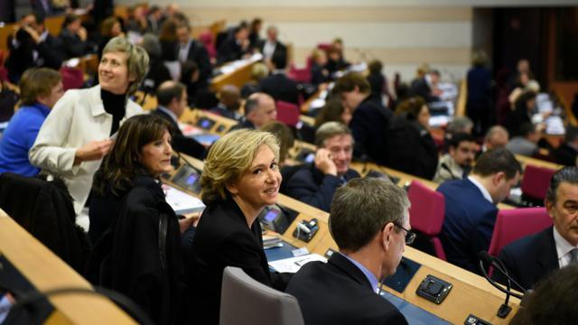 Valérie Pécresse lors de l'élection à la présidence de la région Ile-de-Frane le 18 décembre 2015 à Paris [ERIC FEFERBERG / AFP]