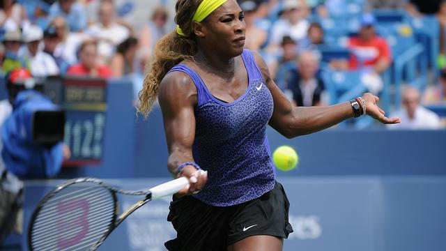 La N.1 mondiale américaine Serena Williams lors de la finale du tournoi de Cincinnati contre la Serbe Ana Ivanovic, le 17 août 2014 [Jonathan Moore / Getty/AFP/Archives]