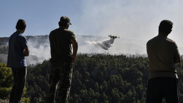 Des habitants regardent un Canadair larguer de l'eau près du village de Kontodespoti sur l'île d'Eubée, au nord-est d'Athènes, le 14 août 2019 [LOUISA GOULIAMAKI / AFP]