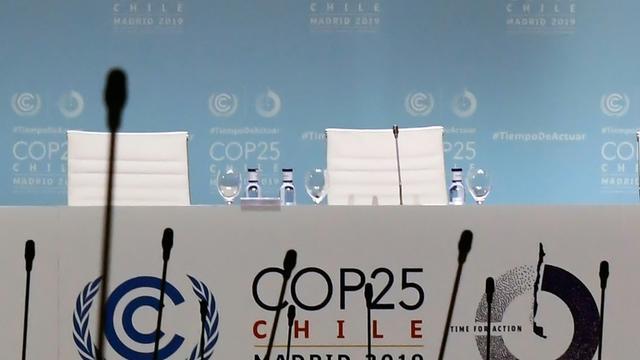 La tribune de la COP25 à Madrid vendredi 13 décembre 2019 [CRISTINA QUICLER / AFP]