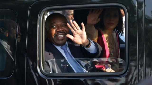 Le président gabonais Ali Bongo Odimba, le 23 mars 2019 à Libreville, de retour de cinq mois de convalescence à l'étranger [Steve JORDAN / AFP]