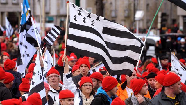"""Des """"Bonnets rouges"""" manifestent à Quimper le 2 novembre 2013 [ / AFP/Archives]"""