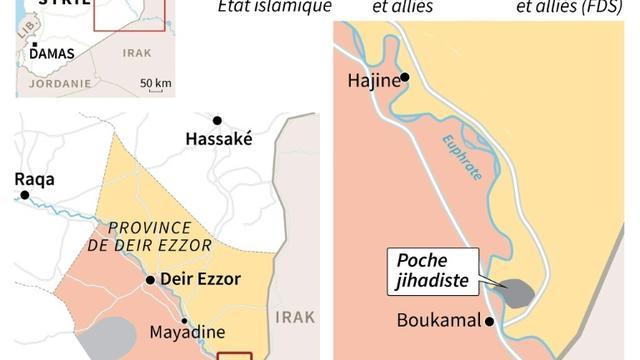 Carte représentant les zones de contrôle dans l'est de la Syrie au 8 février [ / AFP]