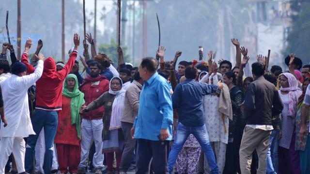 Manifestation à Rohtak, dans le nord de l'Inde contre le système de castes, le 20 février 2016 [STRDEL / AFP]