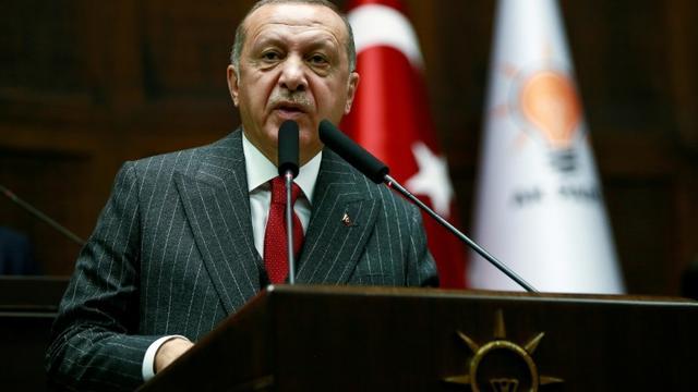 Photo fournie par la présidence turque de Recep Tayyip Erdogan lors d'un discours devant ses députés à Ankara, le 7 mai 2019 [- / TURKISH PRESIDENTIAL PRESS SERVICE/AFP]