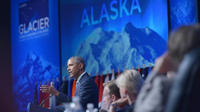 Barack Obama lors d'un discours sur le changement climatique le 31 août 2015 à Anchorage en Alaska [MANDEL NGAN / AFP]