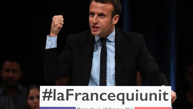 Emmanuel Macron lors d'un meeting le 18 octobre 2016 à Montpellier [PASCAL GUYOT / AFP]