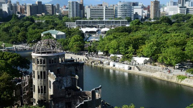 Le dôme de la Bombe Atomique, mémorial de la paix à Hiroshima, pris en photo le 6 août 2017 [STR / JIJI PRESS/AFP/Archives]