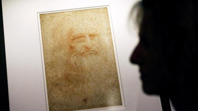Célèbre auto-portrait de Léonard de Vinci, exposé dans la Bibliothèque royale de Turin (Italie).