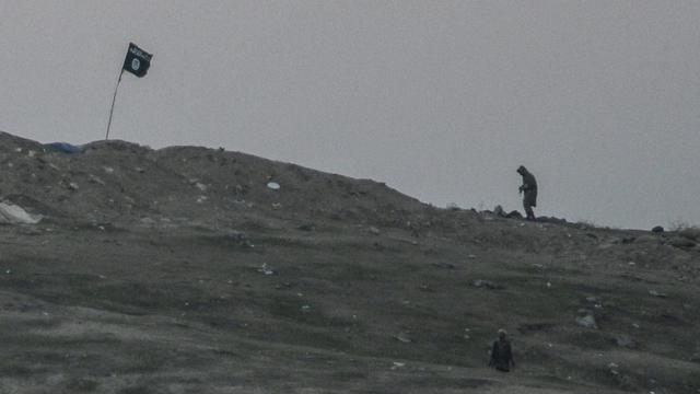 Des membres du groupe Etat islamique sur une colline près de la frontière turque, aux abords du village de Tumurtalik, le 23 octobre 2014 [Bulent Kilic / AFP/Archives]