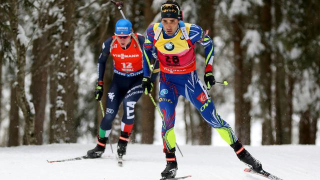 Le biathlète français Martin Fourcade, lors de la poursuite 12.5km de l'étape de Coupe du monde d'Antholz-Anterselva, le 23 janvier 2016 [LUCIANO SOLERO / AFP/Archives]