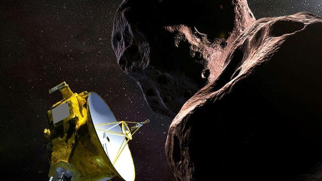 Représentation artistique, transmise par la Nasa le 21 décembre, de la sonde New Horizons survolant l'objet cosmique Ultima Thule. [HO / NASA/JHUAPL/SwRI/AFP/Archives]