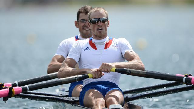 Le duo français Jérémie Azou-Stany Delayre lors des JO de Londres, le 4 août 2012 [Manan Vatsyayana / Pool/AFP/Archives]