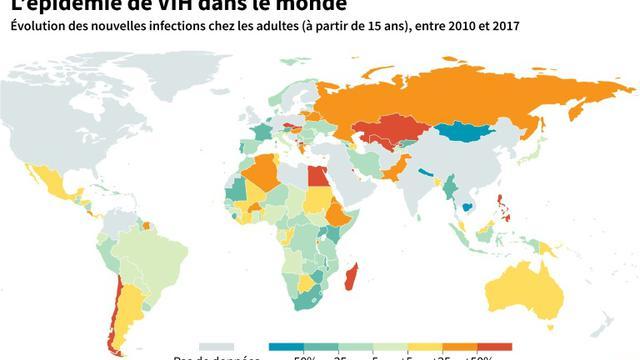 L'épidémie de VIH dans le monde [Cecilia SANCHEZ / AFP]