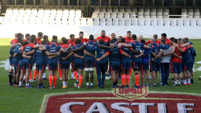 L'équipe de France de rugby lors d'une séance d'entraînement au stade Growthpoint Kings Park à Durban, le 16 juin 2017  [ANESH DEBIKY / AFP]
