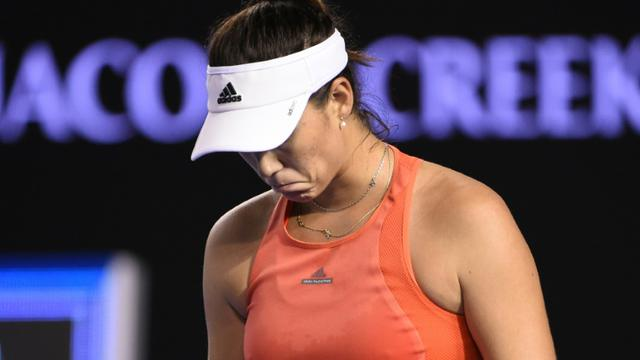 Garbine Muguruza lors du match l'opposant à Barbora Strycova le 23 janvier 2016 à Melbourne [WILLIAM WEST / AFP]
