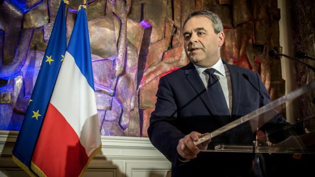 Xavier Bertrand lors de son allocution au soir des régionales le 13 décembre 2015  à Saint-Quentin [PHILIPPE HUGUEN / AFP/Archives]
